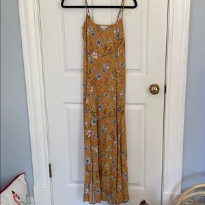 Love Fire Yellow Floral Double Slit Maxi Dress S
